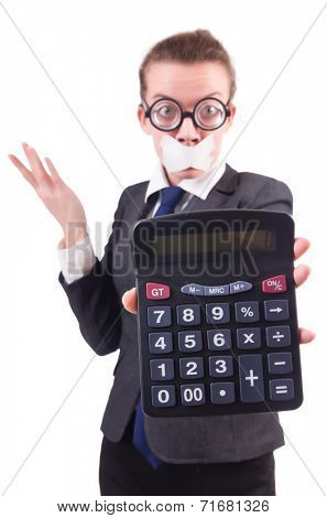 Woman with calculator in fraud concept isolated on white