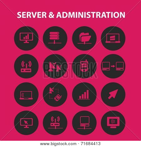 server, computer, administration black icons, signs, illustrations, objects set, vector