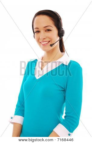 Young woman wearing headphones and mouthpiece