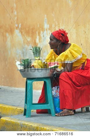 Palenquera Woman On The Street
