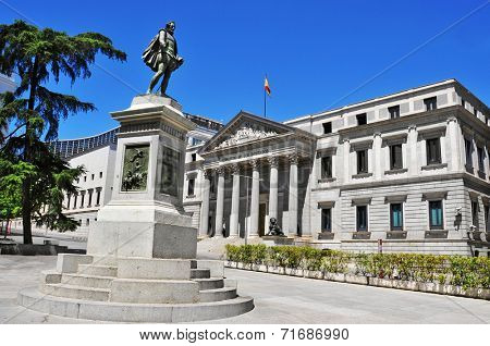 view of Plaza de las Cortes and Spanish Congress of Deputies in Madrid, Spain
