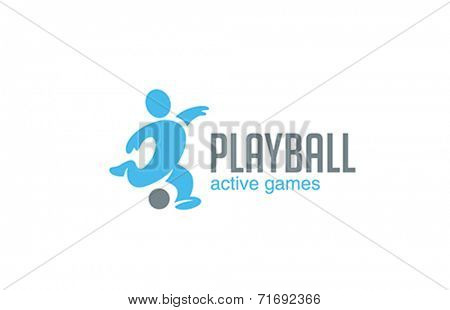 Football Logo Soccer player with ball vector design template. Active sport logotype. Funny style footballer icon.