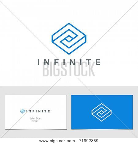 Logo Rhombus Abstract Infinite impossible loop vector design template.  Corporate icon logotype. Creative Square infinity lineart concept.