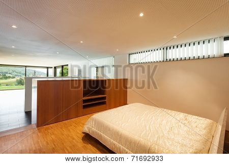 Interior modern house, wide bedroom, double bed