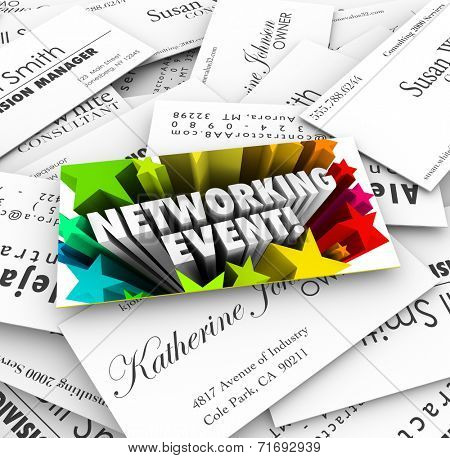 Networking Event words on a business card on a stack of contacts collected at a mixer, meeting, seminar, conference or convention