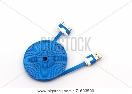Blue Usb Cable For Smartphone.
