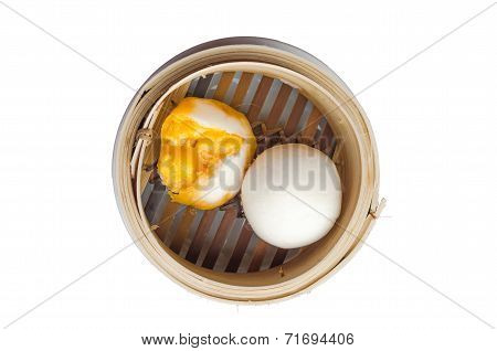 Dim Sum In Bamboo Steamed Bow Isolated White Background