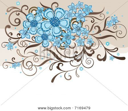 Turquoise And Brown Floral Design