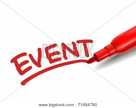 The Word Event With A Red Marker
