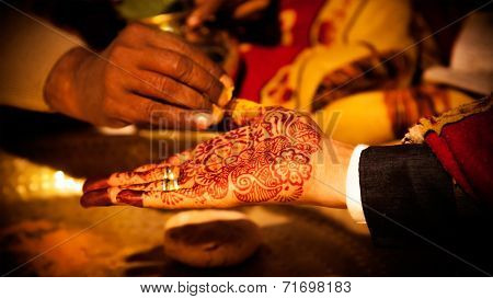 Decorative hand of Indian groom