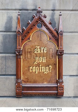 Decorative Wooden Sign - Are You Coping
