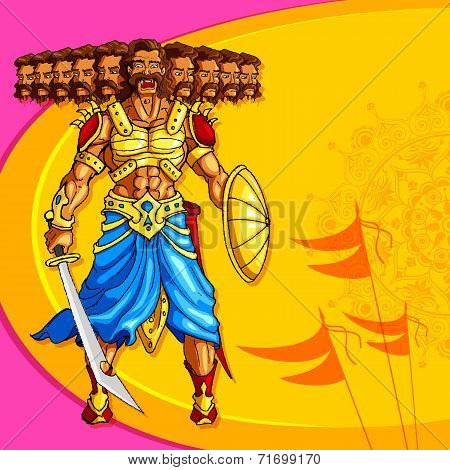 Raavana with ten head holding sword