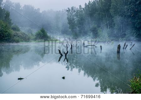 Misty Morning On A Small River In Russia.