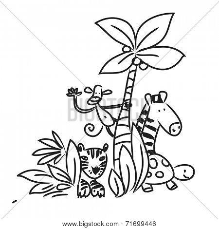 Cute Zoo animals vector illustration, line art hand drawing