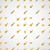 foto of linoleum  - Vector seamless pattern with yellow tools for linoleum flooring service on gray background - JPG