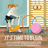image of time machine  - Woman on cycling machine in gymnasium fitness lifestyle time to begin poster vector illustration - JPG