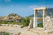 stock photo of dalyan  - Kaunos ancient town ruins in Dalyan valley - JPG