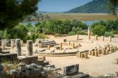 stock photo of dalyan  - Kaunos ancient city in Dalyan valley - JPG
