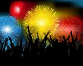 image of new years celebration  - illustration of Fireworks at new years - JPG