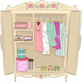 stock photo of armoire  - Illustration Featuring an Armoire with a Shabby Chic Design - JPG