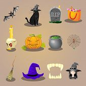 foto of halloween characters  - halloween accessories and Characters icons set vector illustration - JPG