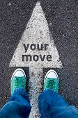 image of snickers  - Green shoes standing on your move sign - JPG
