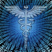 picture of hospital patient  - Medical data and the future of health care databases technology concept as a caduceus medicine symbol on a background of binary code as an icon of hospital patient information management - JPG