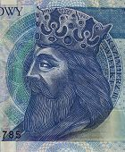 Polish Medieval King On Banknote poster