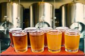 picture of draft  - Beer flight of eight glasses of craft beer on a serving board with fermenting tanks background.