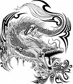 foto of henna tattoo  - Dragon Doodle Sketch Tattoo Vector - JPG