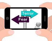 picture of panic  - Terror Fear Signpost Displaying Anxious Panic And Fears - JPG