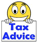 stock photo of irs  - Tax Advice On Sign Showing Taxation Irs Help - JPG