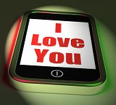 image of adoration  - I Love You On Phone Displaying Adore Romance - JPG