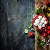 picture of basil leaves  - Cherry tomatoes - JPG