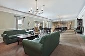 image of funeral home  - View inside funeral home with couches and chairs - JPG