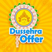 stock photo of subho bijoya  - vector illustration of Dussehra Offer with goddess Durga - JPG