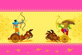 stock photo of dussehra  - vector illustration of Rama killing Ravana in Happy Dussehra - JPG