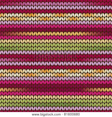Knitted Pattern Pink Green Orange