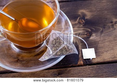 Green Tea In Glass Teacup