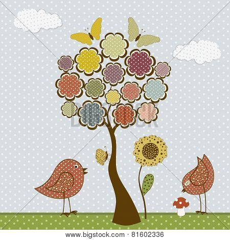 Cute Birds And Butterflies And Tree