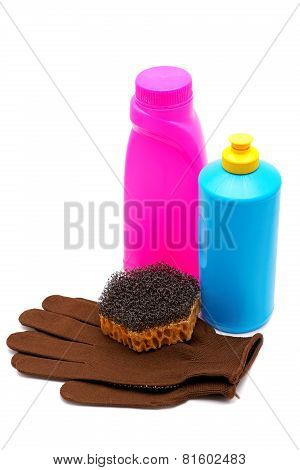 Washing-up Liquids With A Sponge And Gloves