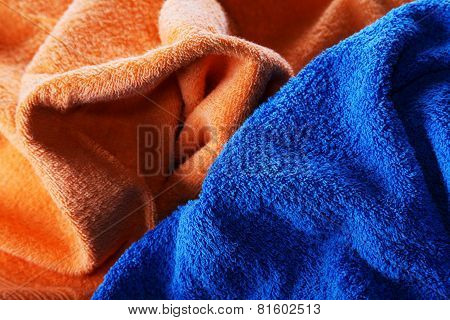 Dark Blue And Orange Fabric With Fibres A Background