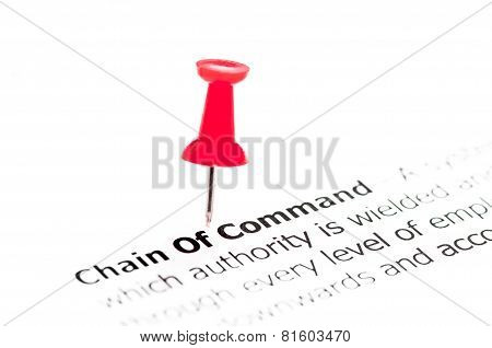 Closeup Shot Over Words Chain Of Command On Paper