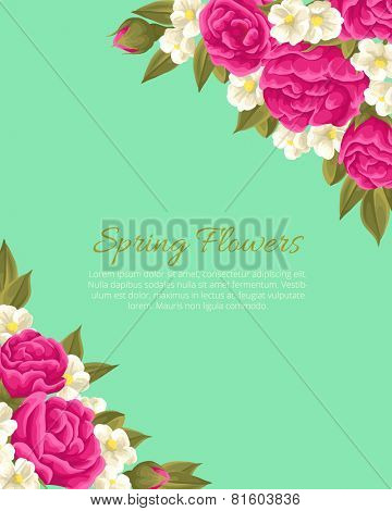 Floral background with pink roses and small white flowers