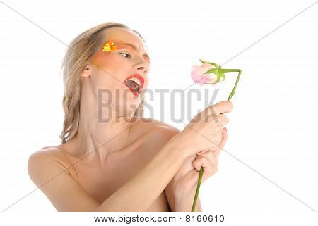 Young Woman With Flower Sings