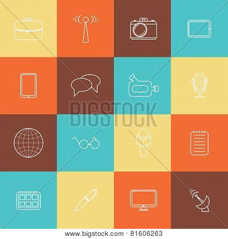 Set of thin journalism icons