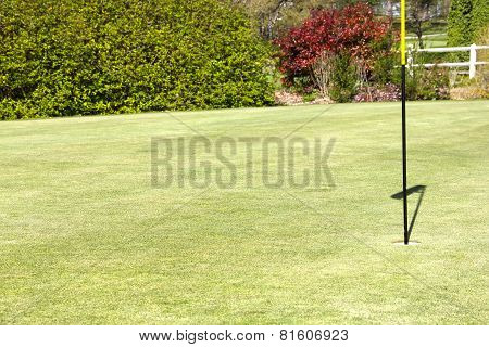 Flag On The Golf Field