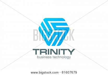 Line art Logo triangle abstract design vector template. Business Technology Logotype concept icon.