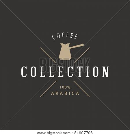 Coffee Retro Vintage Label Logo design vector typography lettering template.  Coffeeshop logotype concept