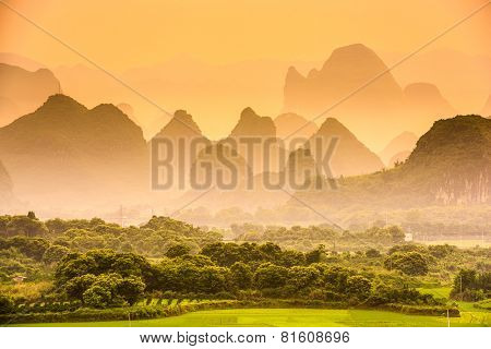 Karst Mountains of Guilin, China.